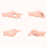 Human Palms Holding Gestures Flat Vectors Set. Human palms holding gestures set. Man hand in various positions with gathered together fingers and put forward in Stock Image