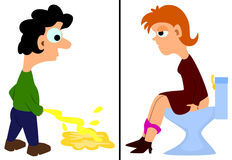 Human pees. A set of two illustration of a cartoon man and woman urinating Royalty Free Stock Images