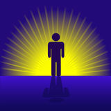Human Person Emergent in Rays. A human person man symbol emergent and radiant in gold rays royalty free illustration
