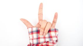 Human person hand in love shape : mean I love loincloth fabric shirt Stock Photography