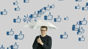 Human person man who do not like social network, social media, likes, chat talk, society communication. Concept.