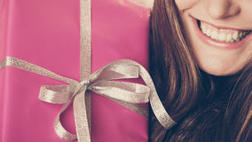 Human person with pink box gift. Christmas holiday Stock Photos