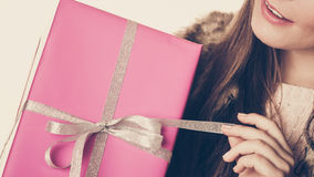 Human person with pink box gift. Christmas holiday Stock Photo