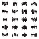 Human persons crowd vector black icons. Office people figures signs. Social teamwork community, crowd partnership illustration Royalty Free Stock Photography