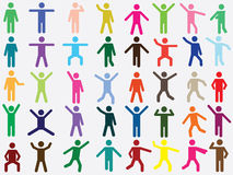 Human pictogram in different colors Royalty Free Stock Photo