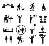 Human pictogram set vector.silhouette human activity Royalty Free Stock Images