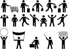 Human pictograms with different objects and activity Stock Photo