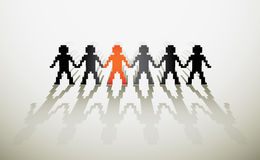 Human pixel figures. Assembly of human pixel figures in a row - illustration Royalty Free Stock Photo