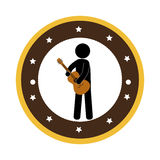 Human playing acoustic guitar instrument icon. Vector illustration design Royalty Free Stock Photo