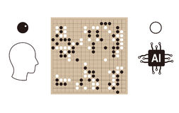 Human playing go game with artifical intelligence, vector  Royalty Free Stock Images