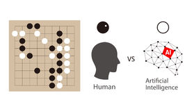 Human playing go game with artifical intelligence, vector  Stock Photography