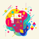 Human with a pointer on abstract colorful spotted background wit Stock Photography