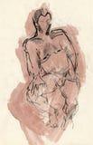 Human pose, drawing 2 Royalty Free Stock Image