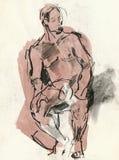 Human pose, drawing 3 Stock Photo