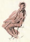Human pose, drawing 5 Stock Images