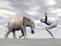 Yoga elephant - 3D render Royalty Free Stock Photography