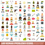 100 human problems icons set, flat style Stock Photography