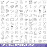 100 human problems icons set, outline style. 100 human problems icons set in outline style for any design vector illustration Royalty Free Stock Photos