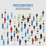 Human Professions Isometric Background. People background isometric composition of isolated human characters representing various occupations with shadows and Stock Photography