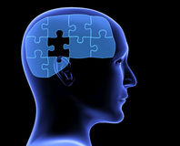 Human profile and brain in the form of the puzzle Royalty Free Stock Photos