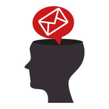 Human profile with envelope isolated icon Stock Photo