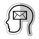Human profile with envelope Stock Photography
