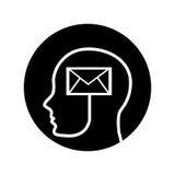 Human profile with envelope Stock Photo