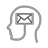Human profile with envelope Royalty Free Stock Photo