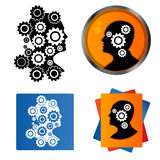 Human profile with gear wheels inside Stock Photography