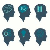 human profile head concept, with brain, bulb, book, labyrinth and gear icon royalty free illustration