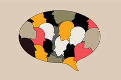 Human profile head discussion in dialogue bubble. Royalty Free Stock Images