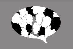 Human profile head discussion in dialogue bubble. Stock Photo