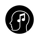 Human profile with music note Stock Photos
