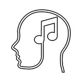 Human profile with music note Royalty Free Stock Photography