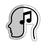 Human profile with music note Stock Photo