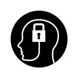 Human profile with padlock Stock Photos
