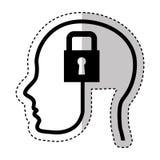 Human profile with padlock Stock Photo