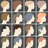 Human profiles with different hairstyles Stock Images