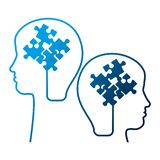 Human profiles with puzzle attached. Vector illustration design stock illustration