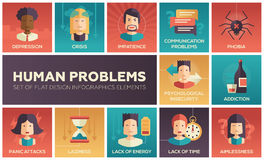 Human psychological problems- flat design icons set. Set of modern vector flat design icons and pictograms of common human psychological problems. Crisis Stock Photos