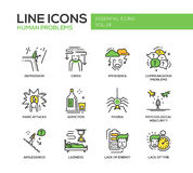 Human psychological problems- line design icons set Stock Photography
