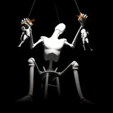 Human puppets. Levels of control concept using puppets on strings Stock Photo