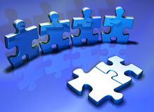 Human puzzle. Puzzle pieces - 3d render Royalty Free Stock Photography