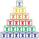 Human pyramid. Abstract illustration with squares and human figure Royalty Free Stock Images