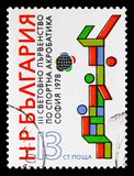 Human Pyramid, Acrobatic Gymnastics World Championships, Sofia serie, circa 1978. MOSCOW, RUSSIA - SEPTEMBER 15, 2018: A stamp printed in Bulgaria shows Human royalty free stock images