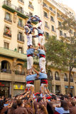 Human Pyramid in Barcelona Stock Photo