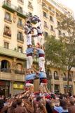 Human Pyramid in Barcelona Stock Photo