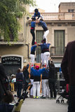 Human pyramid in Barcelona, Spain Stock Photo