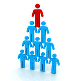 Human pyramid concept   3d illustration Stock Photography