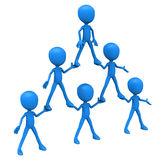 Human pyramid hierarchy. Human pyramid of organizational hierarchy, HR concept of team work at different levels, blue 3d men, white background Royalty Free Stock Photography